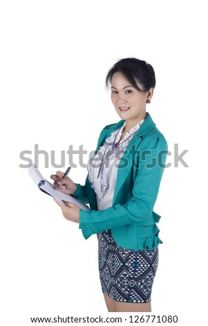 Portrait of a successful business woman holding a folder, isolated on white background. - stock photo