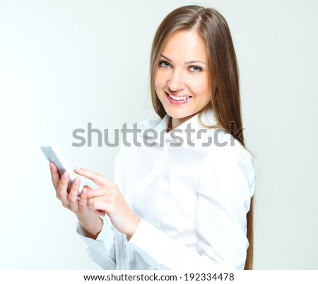 portrait of a successful business woman using mobile phone. smartphone. internet surfing. - stock photo