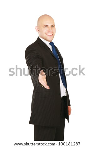 Portrait of a successful businessman giving a hand, isolated on white