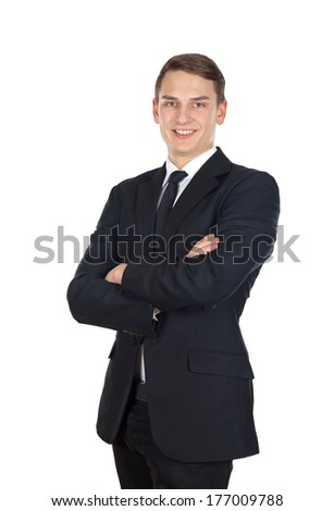 Portrait of a successful businessman on isolated background