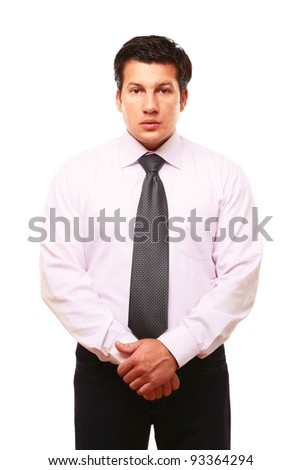 Portrait of a successful businessman with folded arms, isolated on white background - stock photo