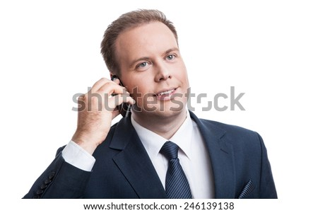 Portrait of a successful employee on a white background