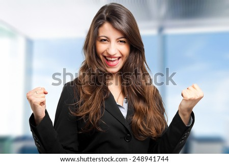 Portrait of a successful happy woman - stock photo