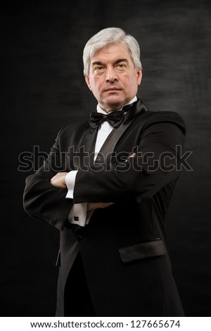 Portrait of a successful mature business man smiling - Copyspace - stock photo