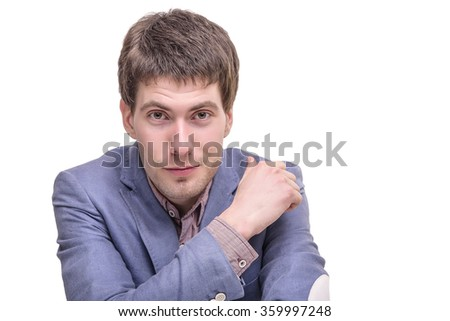 Portrait of a successful young business man, closeup. - stock photo