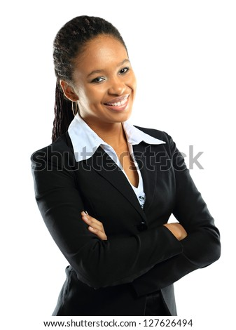 Portrait of a successful young business woman over white background - stock photo
