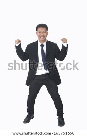 Portrait of a successful young businessman against a white background  - stock photo