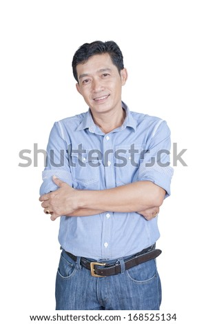 Portrait of a successful young businessman against a white background