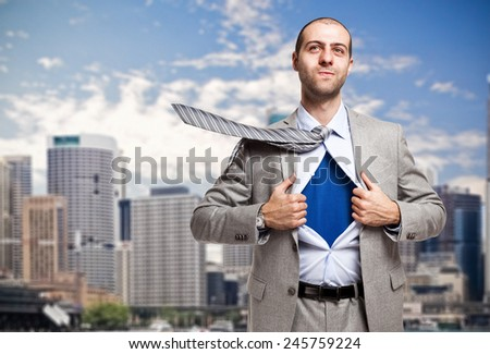 Portrait of a super businessman - stock photo