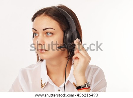 Portrait of a support phone operator in headset - stock photo