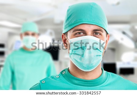 Portrait of a surgeon in front of the operation room