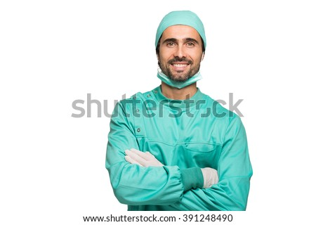 Portrait of a surgeon. Isolated on white - stock photo