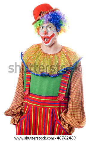 Portrait of a surprised clown. Isolated on white