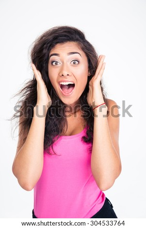 Portrait of a surprised female teenager screaming isolated on a white background - stock photo
