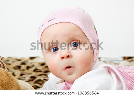 Portrait of a surprised little girl in the hat
