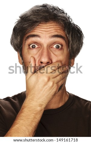 Portrait of a surprised man. Studio shot, isolated on white background. - stock photo