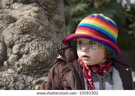 portrait of a sweet girl. spring in the garden - stock photo