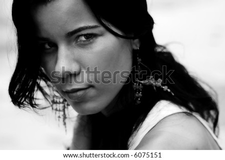 Portrait of a teen girl with harsh look