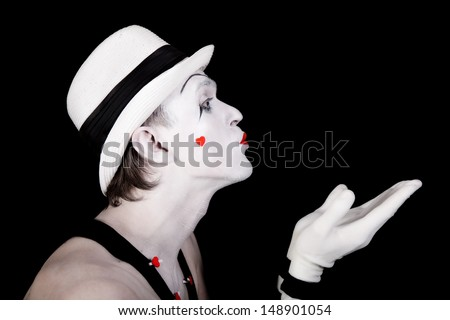 Portrait of a theater actor with mime makeup close up - stock photo