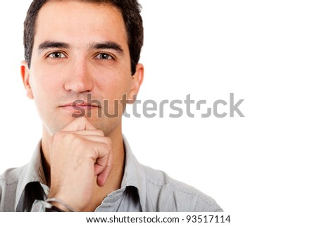 Portrait of a thoughtful man - isolated over a white background