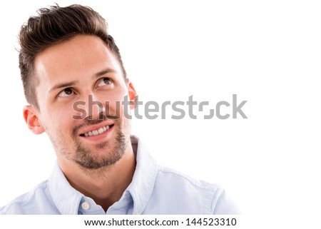 Portrait of a thoughtful man - isolated over white background