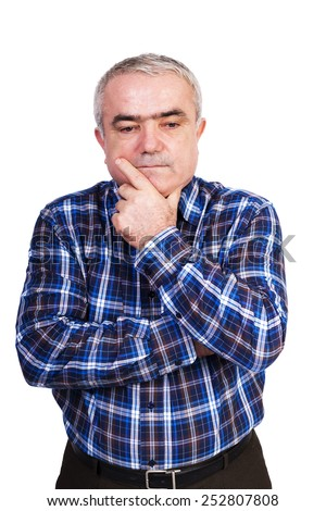 Portrait of a thoughtful senior man isolated on white background - stock photo