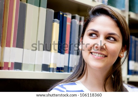 Portrait of a thoughtful woman at the library
