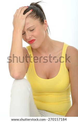 Portrait of a Thoughtful Worried Attractive Young Woman Looking Stressed and Upset - stock photo