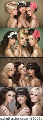 Portrait of a three beautiful woman - stock photo