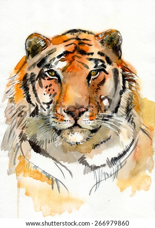 portrait of a tiger. watercolor - stock photo