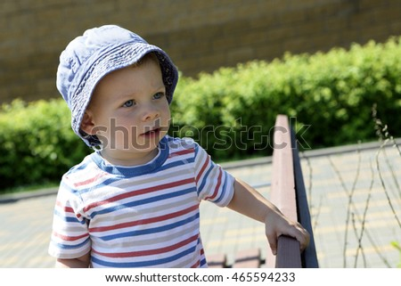Portrait of a toddler in panama hat