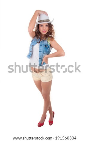 portrait of a tourist girl on a white background