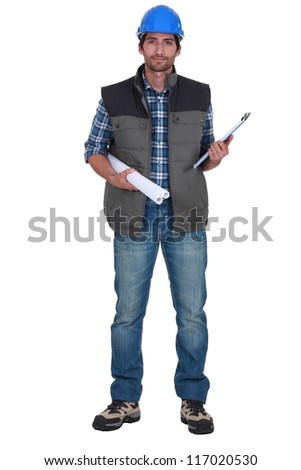 Portrait of a tradesman - stock photo