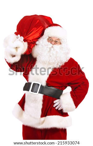 Portrait of a traditional Santa Claus with Christmas gifts. Isolated over white background.  - stock photo