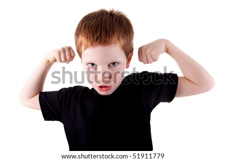 Portrait of a very happy cute boy with his arms raised, on white background. Studio shot
