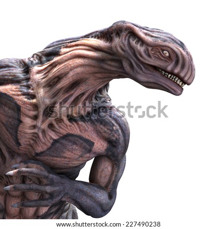 Portrait of a very strange looking alien - 3d render with digital painting. - stock photo