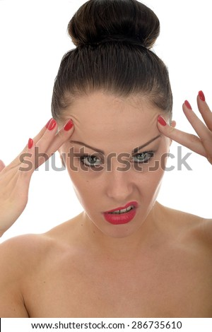 Portrait Of A Very Stressed Beautiful Young Caucasian Woman Pulling Faces And Looking Angry Against A White Background - stock photo