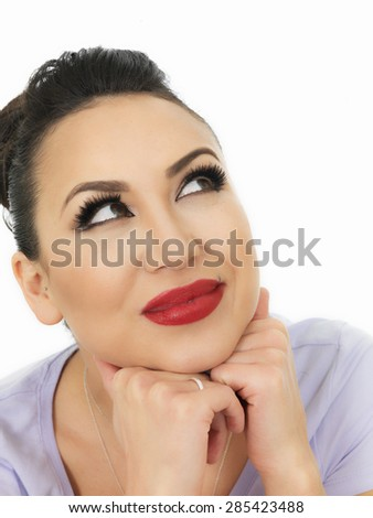 Portrait Of A Very Thoughtful Beautiful Hispanic Young Woman Considering Some Issues or Situation Against White - stock photo