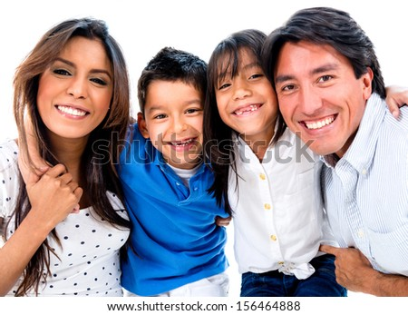 Portrait of a vey happy family smiling - isolated over white background  - stock photo