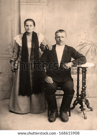 Portrait of a victorian man and his wife.