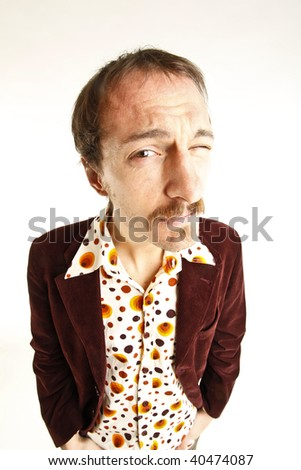 portrait of a vintage funny young man - stock photo