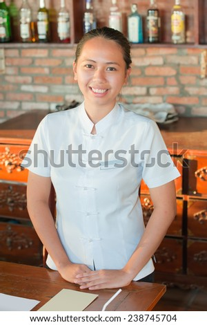 Portrait of a waitress from Philippines