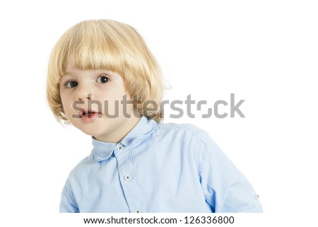 Portrait of a well-dressed in smart business clothes, handsome young blond boy with curious expression on face - isolated on white background - stock photo
