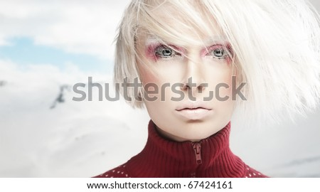 Portrait of a winter woman - stock photo