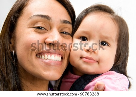 Portrait of a woman and baby cheek to cheek. - stock photo