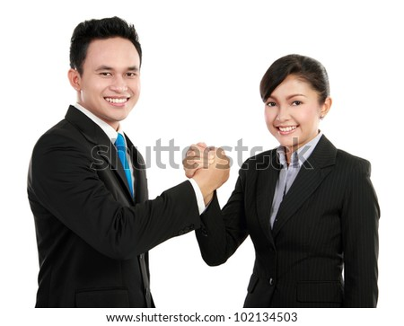 Portrait of a woman and man office worker working as a team