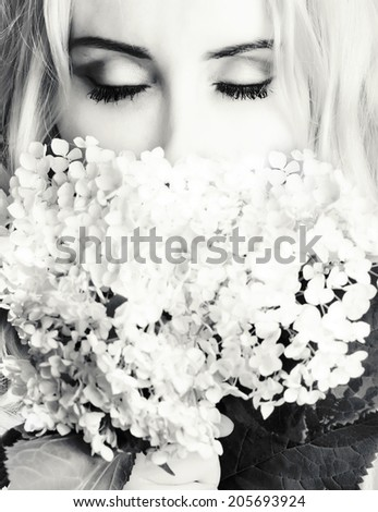 portrait of a woman black and white - stock photo