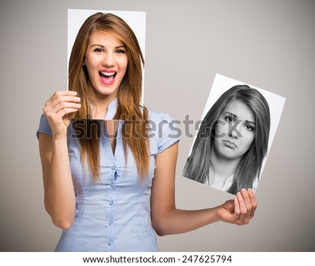 Portrait of a woman changing her mood - stock photo