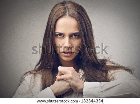 portrait of a woman determined - stock photo