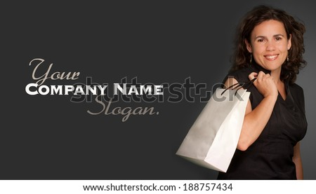 Portrait of a  Woman holding a shopping bag  - stock photo